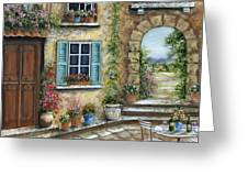 Romantic Tuscan Courtyard II Greeting Card