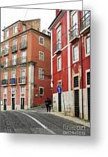 Romantic Walking At Old Lisbon Greeting Card