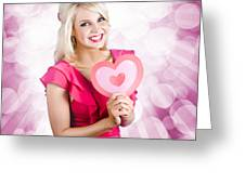 Romantic Woman With Heart Shape Valentine Card Greeting Card