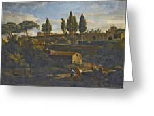 Rome A Terraced Garden Probably That Of The Villa Silvestri Rivaldi  Greeting Card