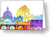 Rome Landmarks Watercolor Poster Greeting Card