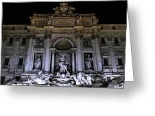 Rome, Trevi Fountain At Night Greeting Card
