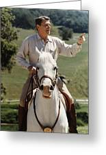 Ronald Reagan On Horseback  Greeting Card