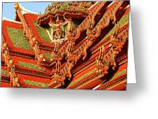 Roof Of Buddhist Temple In Thailand Greeting Card