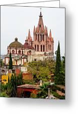 Rooftop View Of La Parroquia De San Miguel Arcangel Greeting Card by Rob Huntley