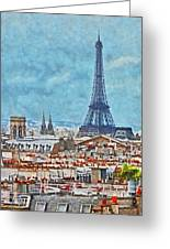 Rooftops In Paris And The Eiffel Tower Greeting Card