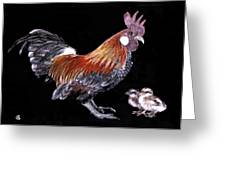 Rooster And Chicks Greeting Card