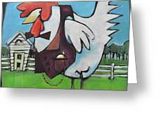 Rooster And Hen House Greeting Card