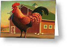 Rooster And The Barn Greeting Card