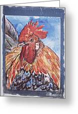Rooster Country Painting On Blue  Greeting Card