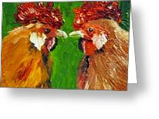 Rooster Face Off Greeting Card