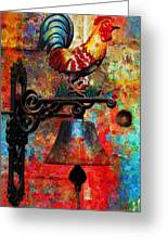Rooster On The Door Whimsy Greeting Card
