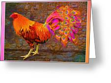 Rooster Peacock Greeting Card