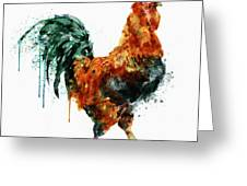 Rooster Watercolor Painting Greeting Card