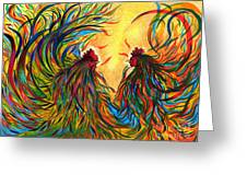 Roosters Frienship Greeting Card