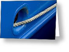 Rope Exiting Through The Bright Blue Greeting Card