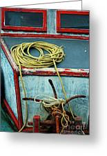 Ropes And Rusty Anchors On A Boat Deck Greeting Card