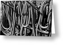 Ropes For The Rigging Bw 1 Greeting Card