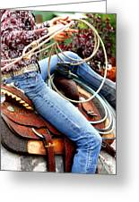 Ropin Girl Greeting Card