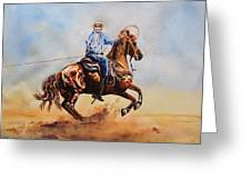Roping Action Greeting Card