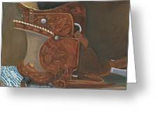 Roping Saddle Greeting Card