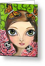 Rose Amongst The Butterflies Greeting Card