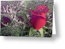 Rose And Babies Breath Greeting Card