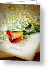 Rose And Bottle Greeting Card