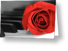 Rose And Piano Greeting Card