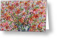 Rose Bouquet In Glass Vase Greeting Card