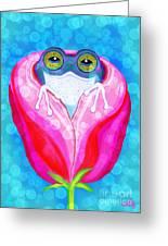 Rose City Rain Frog Greeting Card