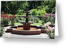 Rose Garden Fountain Greeting Card