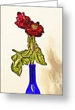 Rose In Blue Vase Greeting Card