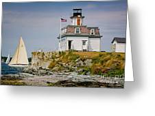 Rose Island Light Greeting Card by Susan Cole Kelly