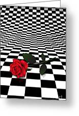 Rose On Black And White #0073 Greeting Card
