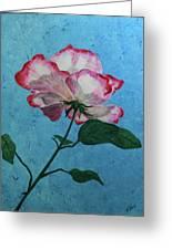 Rose On Blue Greeting Card