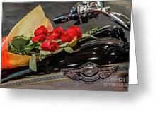 Harley Davidson And Roses Greeting Card