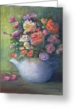Rose Petal Tea Pot Greeting Card