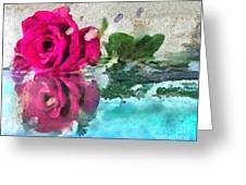 Rose Reflected Fragmented In Thick Paint Greeting Card