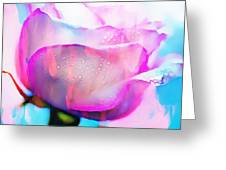 Rose Soft Pink Silked In Thick Paint Greeting Card