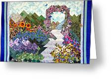 Rose Trellis Garden Greeting Card by Sarah Hornsby