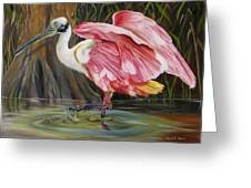 Roseate Spoonbill In A Cypress Swamp Greeting Card