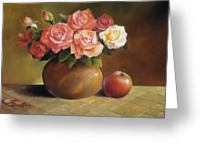Roses And Apple Greeting Card by Han Choi - Printscapes