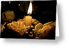 Roses And Candle Greeting Card