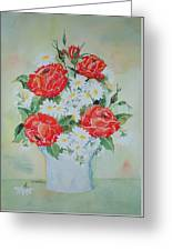 Roses And Daises Greeting Card