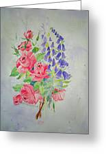 Roses And Digitalis Greeting Card