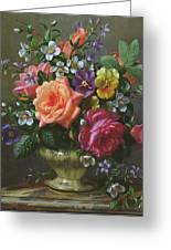 Roses And Pansies Greeting Card