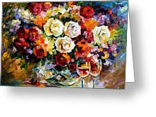 Roses And Wine Greeting Card