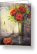 Roses And Woman Greeting Card