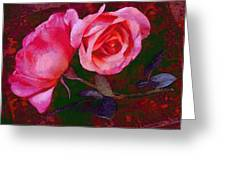 Roses Beautiful Pink Vegged Out Greeting Card